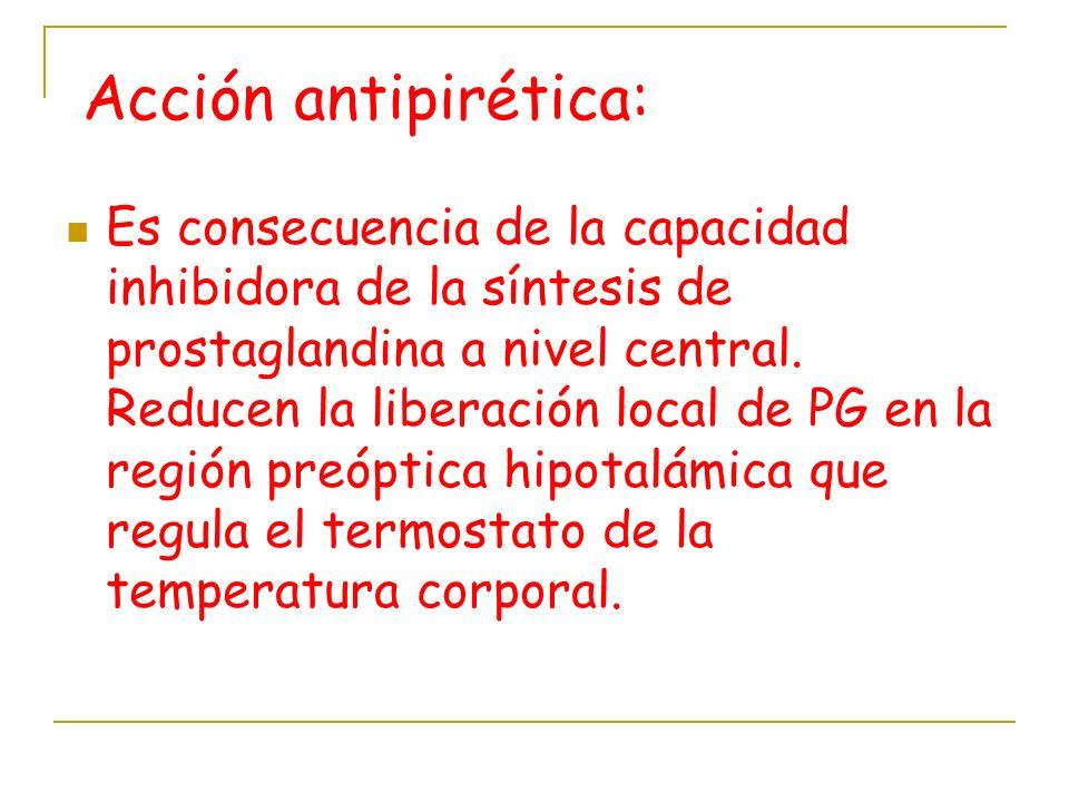 Acción antipirética: Es consecuencia de la capacidad inhibidora de la síntesis de prostaglandina a nivel central. Reducen la liberación local de PG en