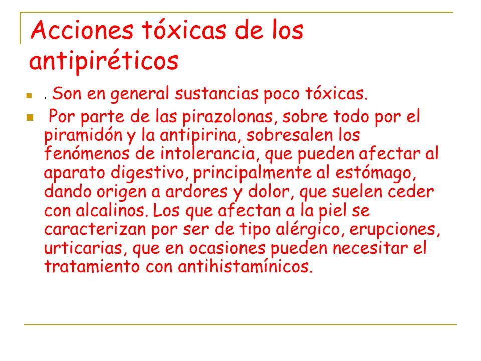 Acciones tóxicas de los antipiréticos. Son en general sustancias poco tóxicas. Por parte de las pirazolonas, sobre todo por el piramidón y la antipiri