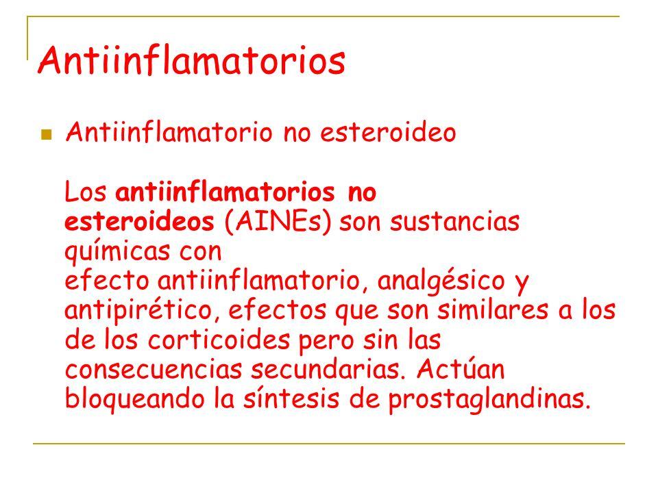 Antiinflamatorios Antiinflamatorio no esteroideo Los antiinflamatorios no esteroideos (AINEs) son sustancias químicas con efecto antiinflamatorio, ana