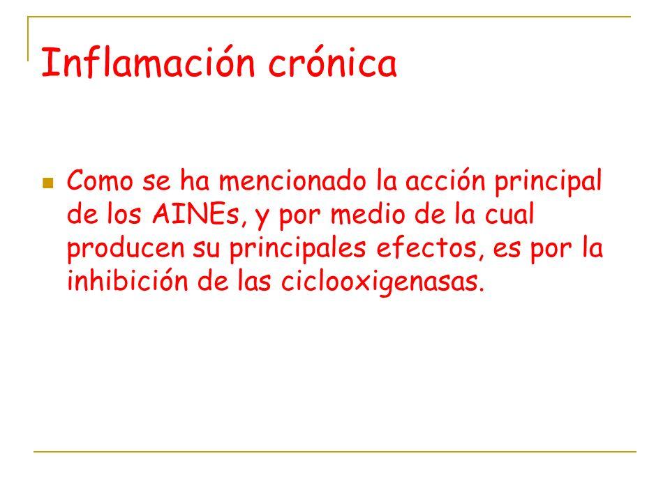 Inflamación crónica Como se ha mencionado la acción principal de los AINEs, y por medio de la cual producen su principales efectos, es por la inhibici