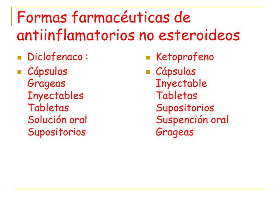 Formas farmacéuticas de antiinflamatorios no esteroideos Diclofenaco : Cápsulas Grageas Inyectables Tabletas Solución oral Supositorios Ketoprofeno Cá