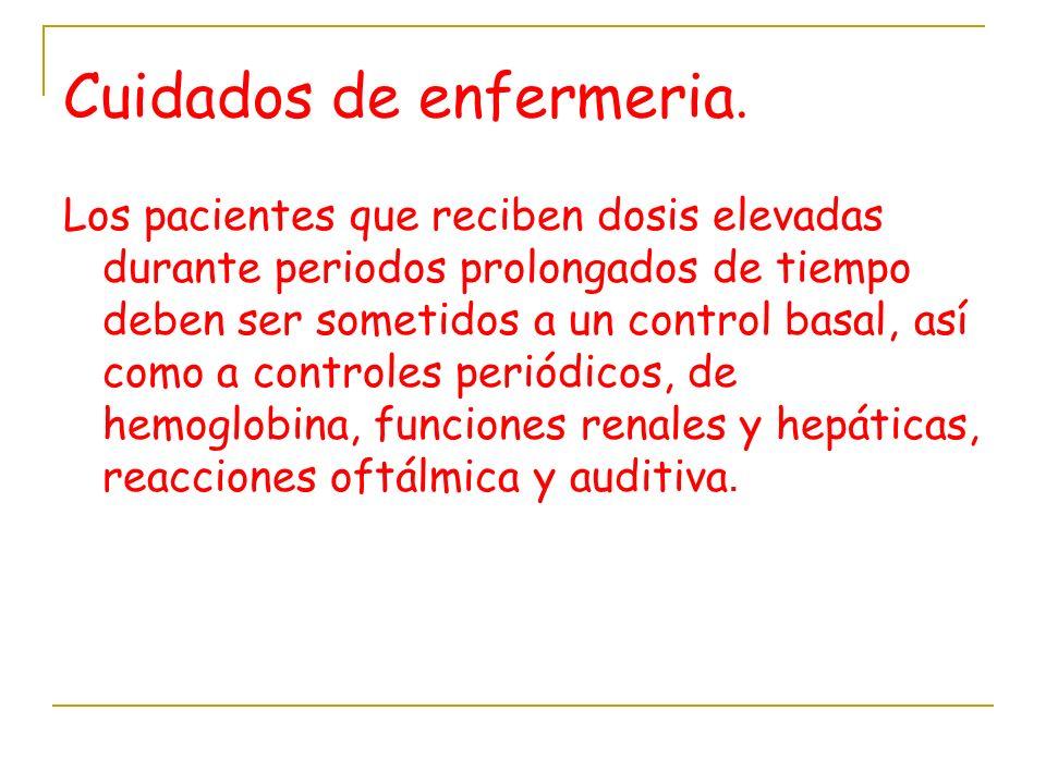 Cuidados de enfermeria. Los pacientes que reciben dosis elevadas durante periodos prolongados de tiempo deben ser sometidos a un control basal, así co