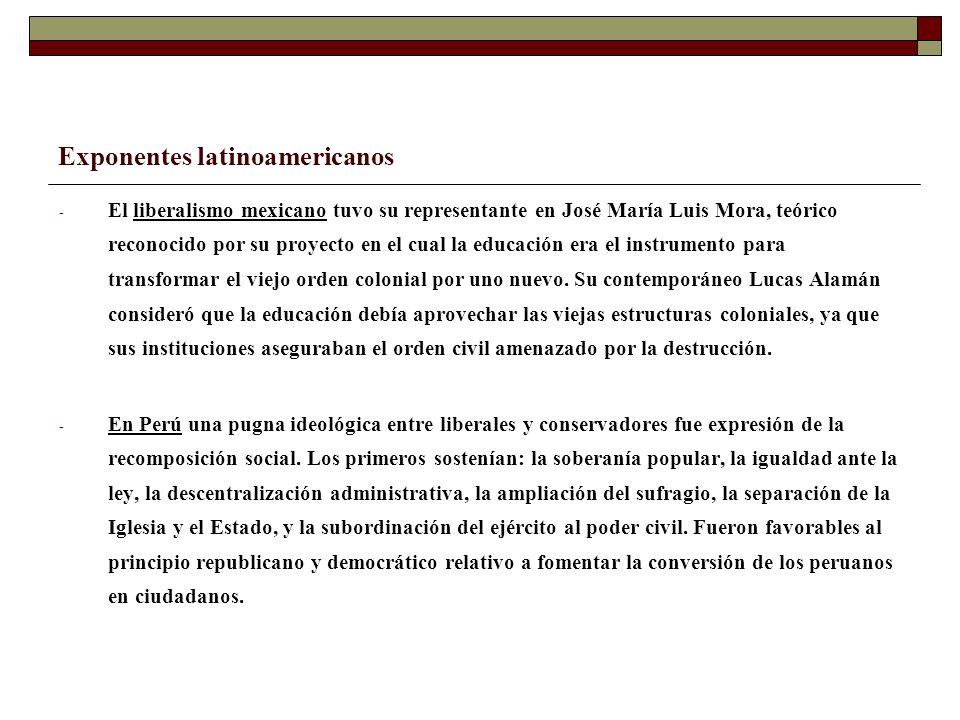 Exponentes latinoamericanos - El liberalismo mexicano tuvo su representante en José María Luis Mora, teórico reconocido por su proyecto en el cual la