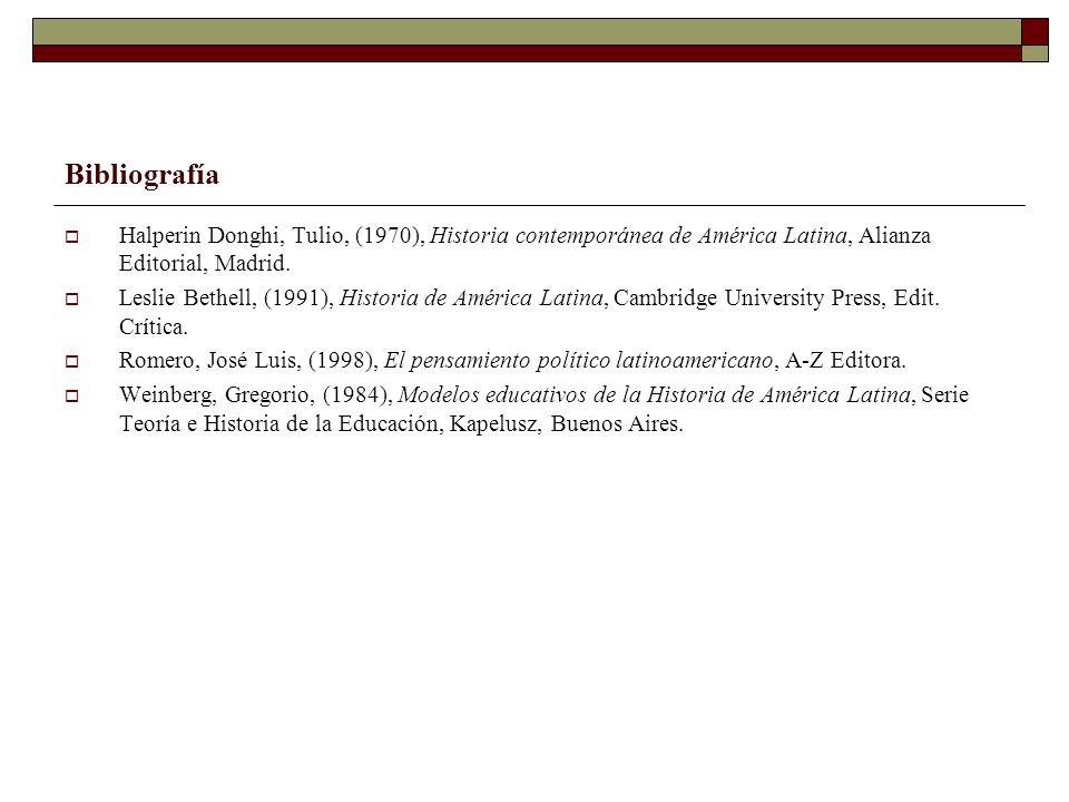 Bibliografía Halperin Donghi, Tulio, (1970), Historia contemporánea de América Latina, Alianza Editorial, Madrid. Leslie Bethell, (1991), Historia de