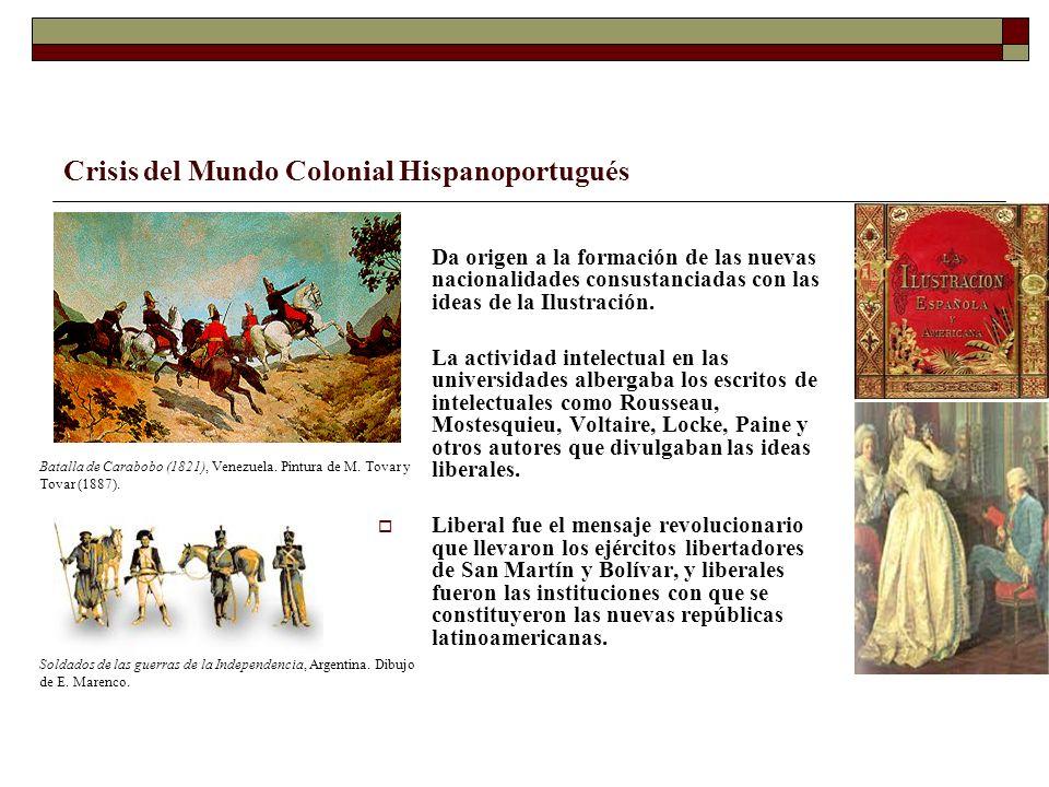 Crisis del Mundo Colonial Hispanoportugués Da origen a la formación de las nuevas nacionalidades consustanciadas con las ideas de la Ilustración. La a