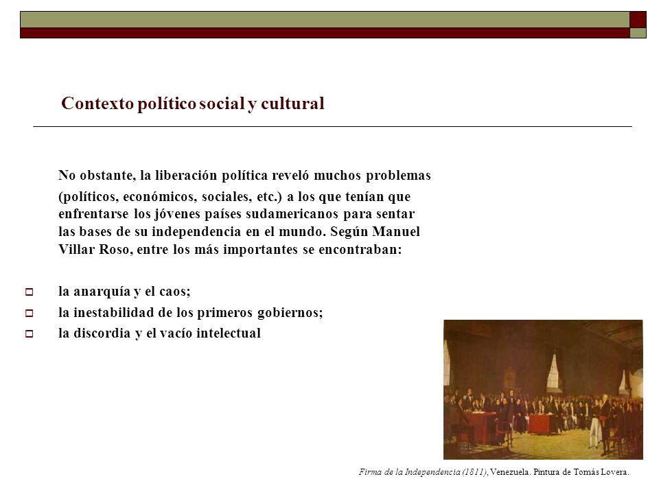 Contexto político social y cultural No obstante, la liberación política reveló muchos problemas (políticos, económicos, sociales, etc.) a los que tení