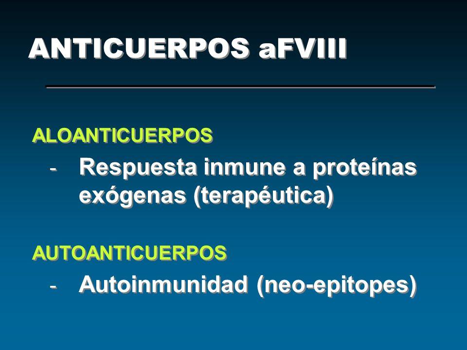ANTICUERPOS aFVIII ALOANTICUERPOS - Respuesta inmune a proteínas exógenas (terapéutica) AUTOANTICUERPOS - Autoinmunidad (neo-epitopes) ALOANTICUERPOS