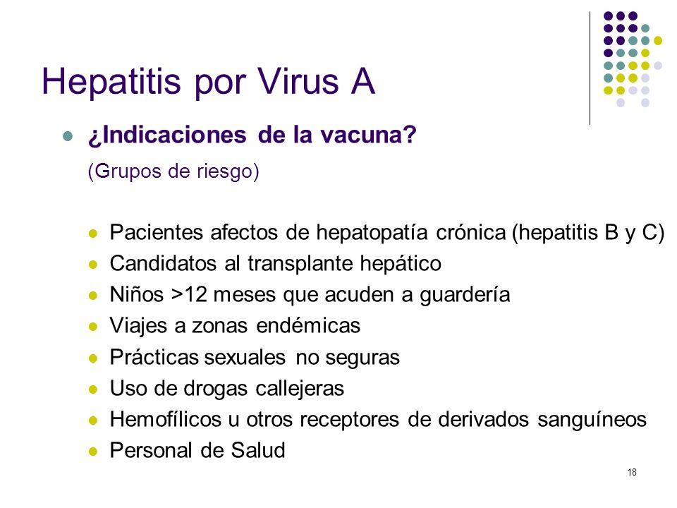 18 Hepatitis por Virus A ¿Indicaciones de la vacuna? (Grupos de riesgo) Pacientes afectos de hepatopatía crónica (hepatitis B y C) Candidatos al trans
