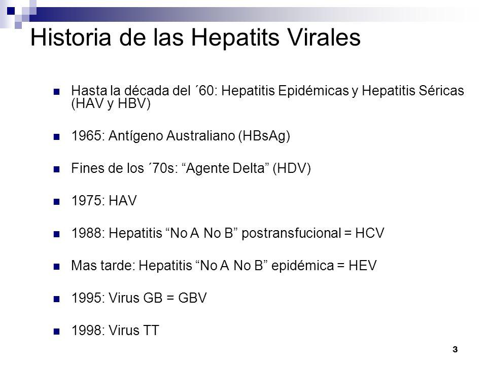 3 Historia de las Hepatits Virales Hasta la década del ´60: Hepatitis Epidémicas y Hepatitis Séricas (HAV y HBV) 1965: Antígeno Australiano (HBsAg) Fi