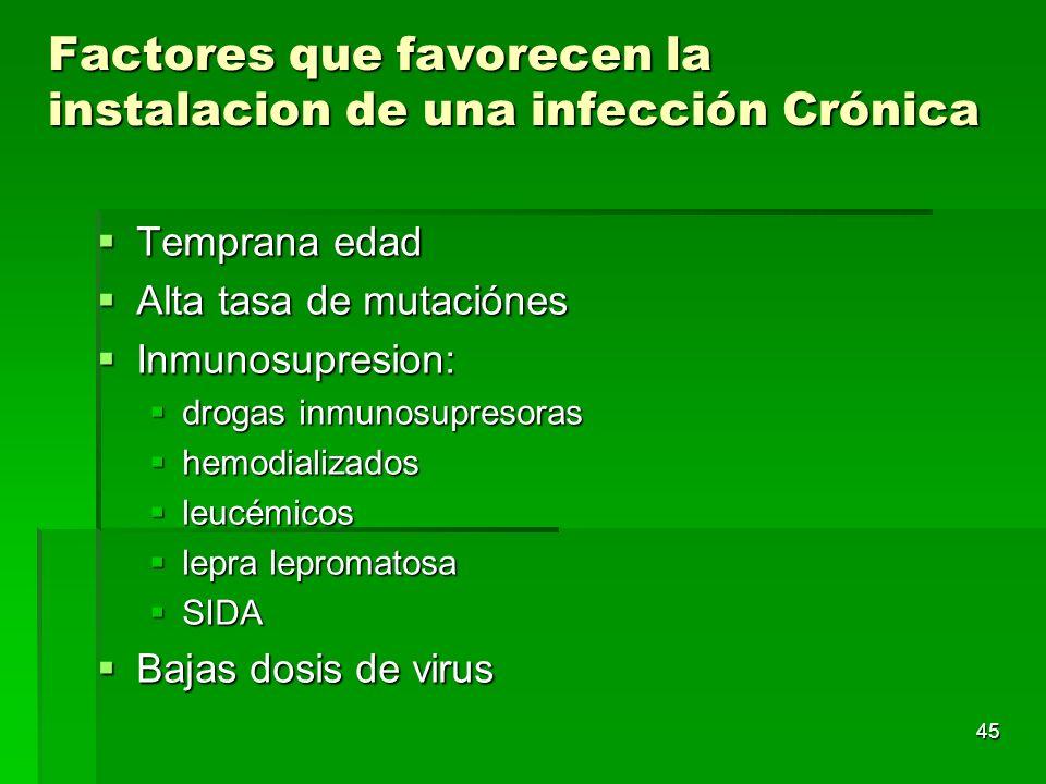 45 Factores que favorecen la instalacion de una infección Crónica Temprana edad Temprana edad Alta tasa de mutaciónes Alta tasa de mutaciónes Inmunosu