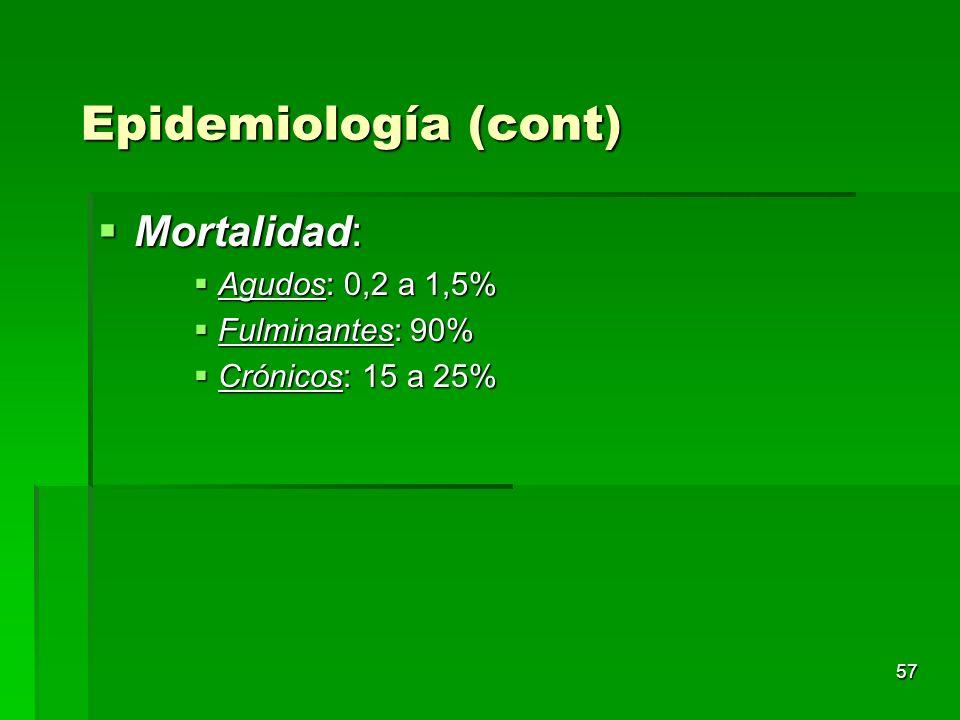 57 Mortalidad: Mortalidad: Agudos: 0,2 a 1,5% Agudos: 0,2 a 1,5% Fulminantes: 90% Fulminantes: 90% Crónicos: 15 a 25% Crónicos: 15 a 25% Epidemiología