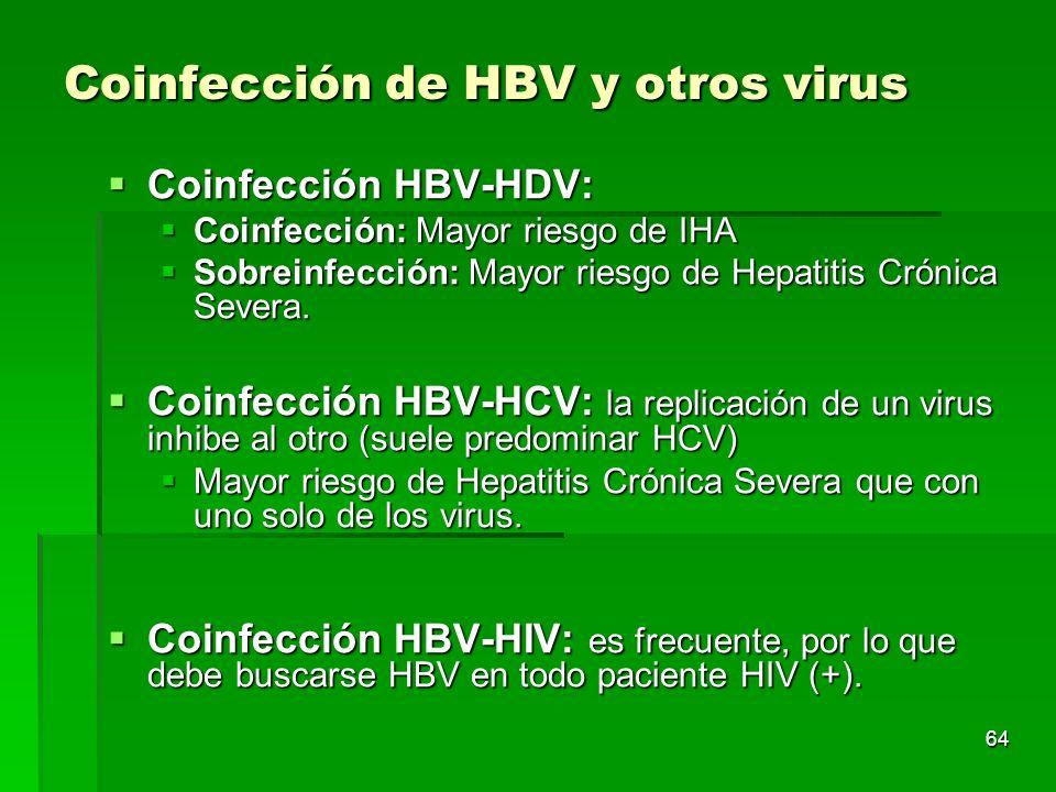64 Coinfección de HBV y otros virus Coinfección HBV-HDV: Coinfección HBV-HDV: Coinfección: Mayor riesgo de IHA Coinfección: Mayor riesgo de IHA Sobrei
