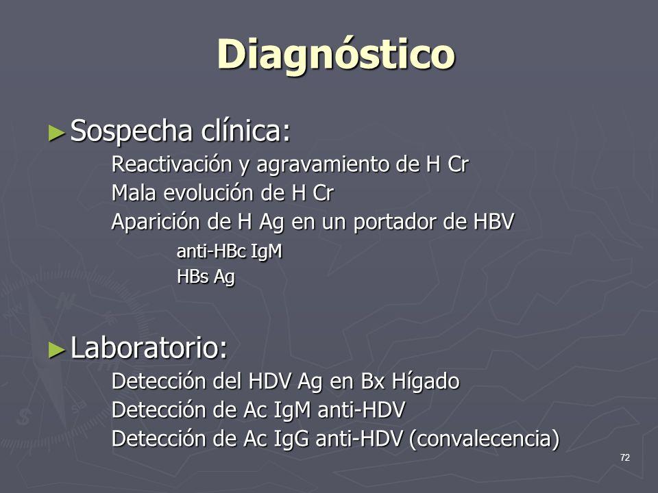 72 Diagnóstico Sospecha clínica: Sospecha clínica: Reactivación y agravamiento de H Cr Mala evolución de H Cr Aparición de H Ag en un portador de HBV