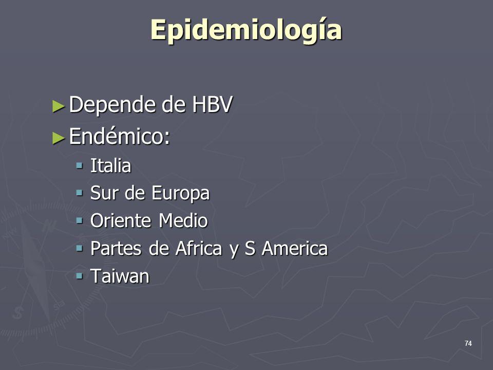 74 Epidemiología Depende de HBV Depende de HBV Endémico: Endémico: Italia Italia Sur de Europa Sur de Europa Oriente Medio Oriente Medio Partes de Afr