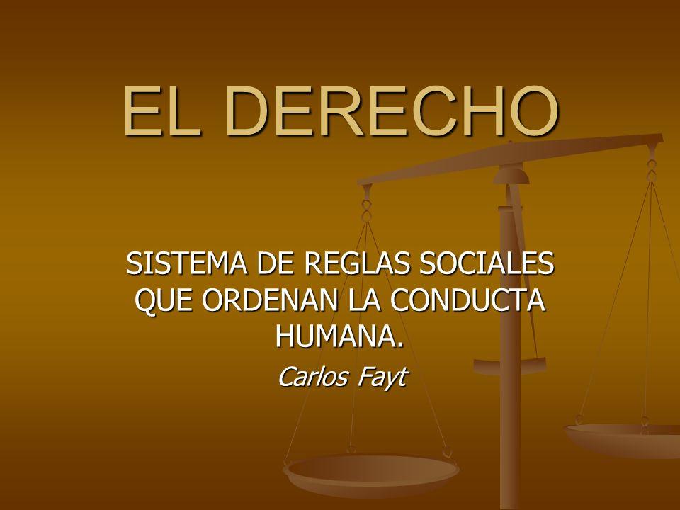 EL DERECHO SISTEMA DE REGLAS SOCIALES QUE ORDENAN LA CONDUCTA HUMANA. Carlos Fayt