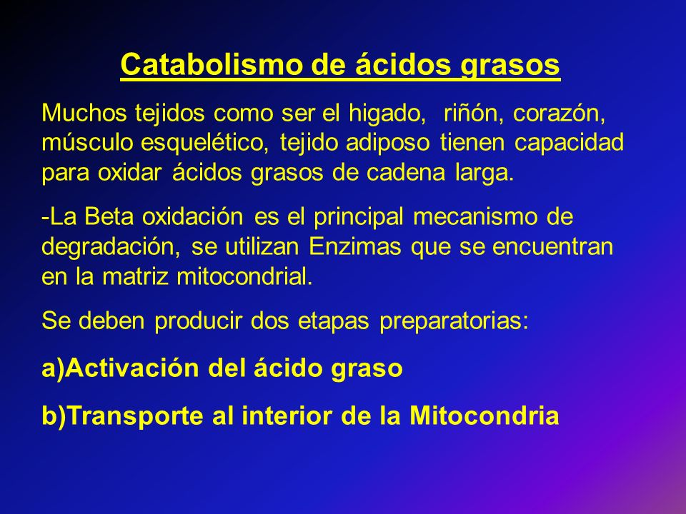 Catabolismo de ácidos grasos Muchos tejidos como ser el higado, riñón, corazón, músculo esquelético, tejido adiposo tienen capacidad para oxidar ácido