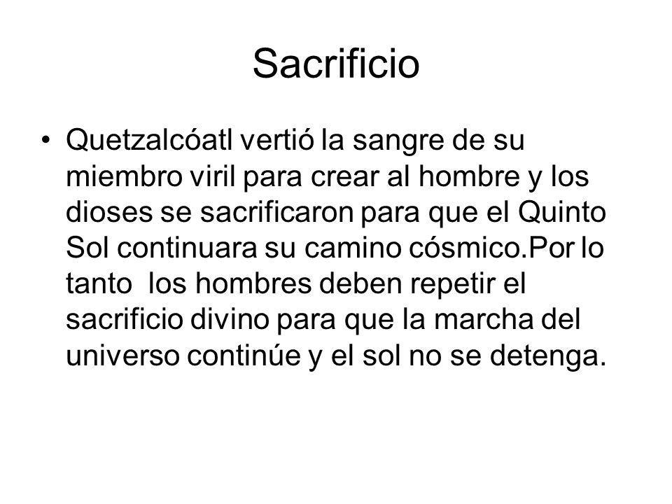 Sacrificio Quetzalcóatl vertió la sangre de su miembro viril para crear al hombre y los dioses se sacrificaron para que el Quinto Sol continuara su ca