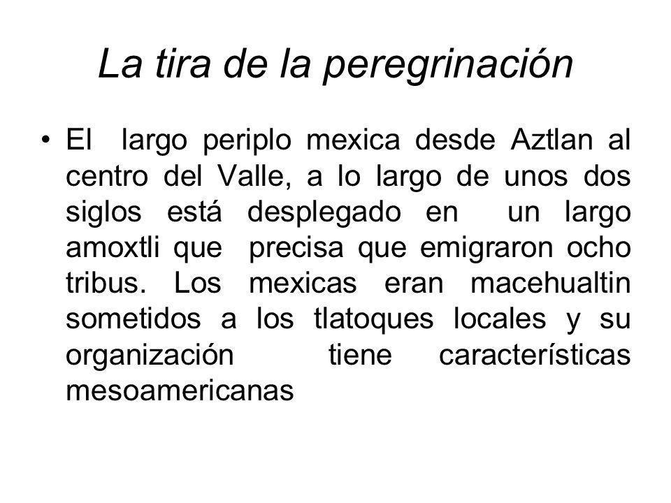 La tira de la peregrinación El largo periplo mexica desde Aztlan al centro del Valle, a lo largo de unos dos siglos está desplegado en un largo amoxtl