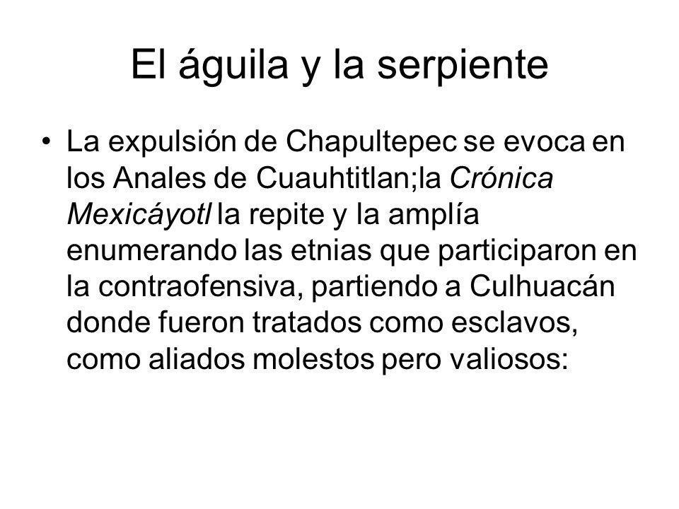 El águila y la serpiente La expulsión de Chapultepec se evoca en los Anales de Cuauhtitlan;la Crónica Mexicáyotl la repite y la amplía enumerando las