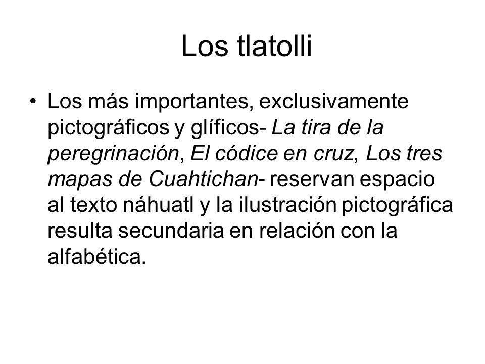 Los tlatolli Los más importantes, exclusivamente pictográficos y glíficos- La tira de la peregrinación, El códice en cruz, Los tres mapas de Cuahticha