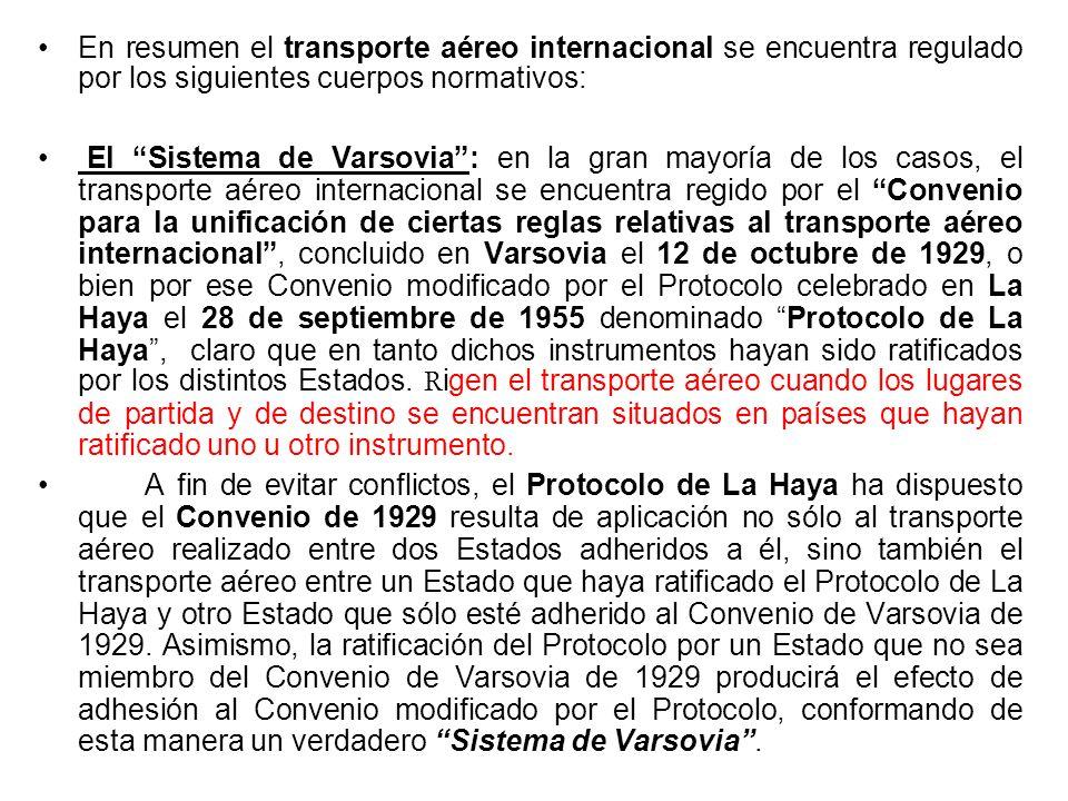 En materia de contratos de transporte aéreo internacional no existe un régimen único. El Convenio de Varsovia de 1929 (en tanto ratificado) rige para