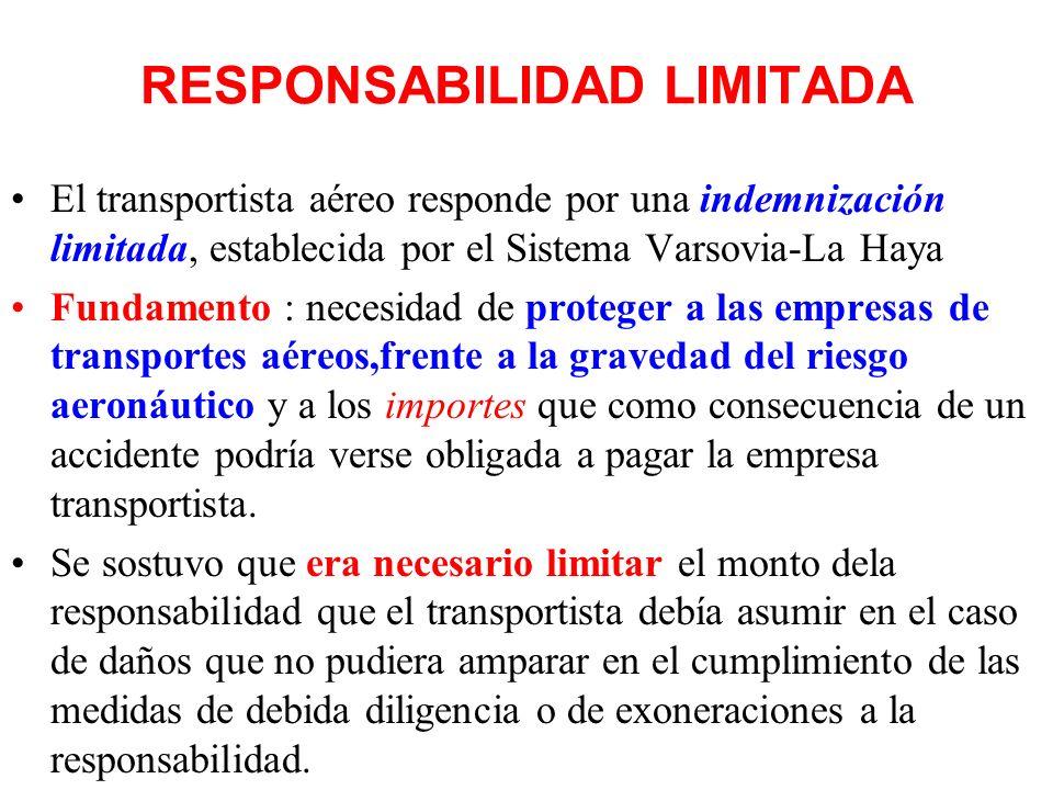 RESPONSABILIDAD SUBJETIVA Tanto el Convenio de Varsovia – La Haya como nuestro Código Aeronáutico fundan la responsabilidad en la culpa. Es decir que