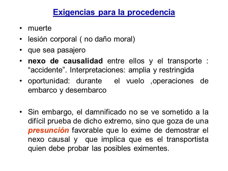 Daños a pasajeros transportados El código aeronáutico art. 139: El transportador es responsable de los daños y perjuicios causados por muerte, o lesió