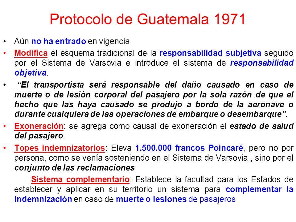 Acuerdo de Montreal 1966 Fue consecuencia de la postura adoptada por Estados Unidos, que no ratificó el Protocolo de La Haya y amenazó con denunciar e