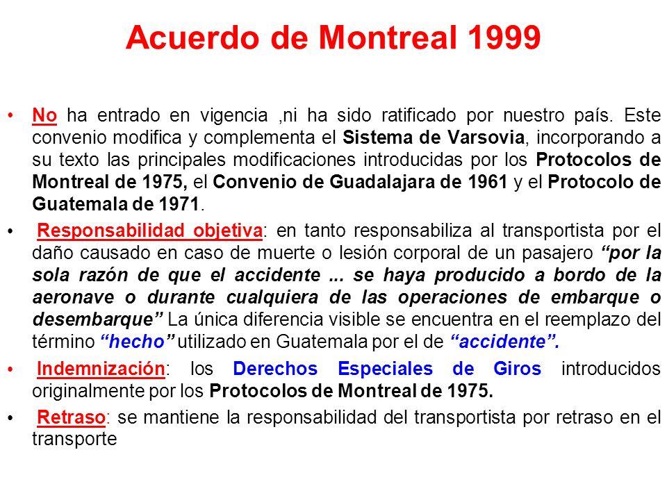 Protocolos de Montreal 1975 (1,2,3,4) Fijan los montos máximos de las indemnizaciones en Derechos Especiales de Giro, unidad monetaria elaborada por e