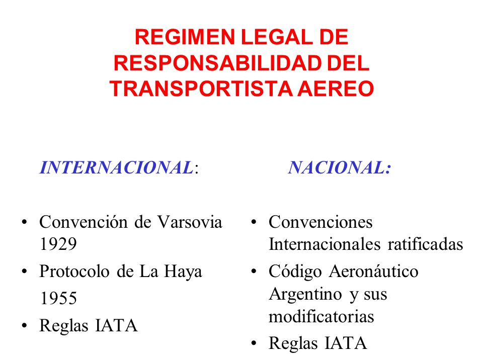 REGIMEN LEGAL DE RESPONSABILIDAD DEL TRANSPORTISTA AEREO INTERNACIONAL: Convención de Varsovia 1929 Protocolo de La Haya 1955 Reglas IATA NACIONAL: Convenciones Internacionales ratificadas Código Aeronáutico Argentino y sus modificatorias Reglas IATA