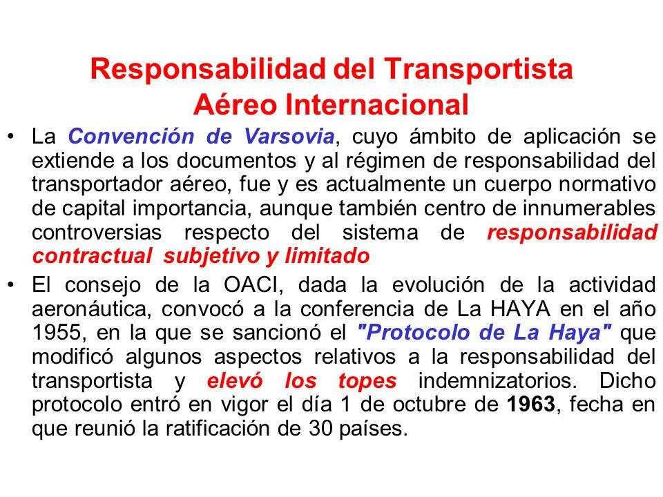 REGIMEN LEGAL DE RESPONSABILIDAD DEL TRANSPORTISTA AEREO INTERNACIONAL: Convención de Varsovia 1929 Protocolo de La Haya 1955 Reglas IATA NACIONAL: Co