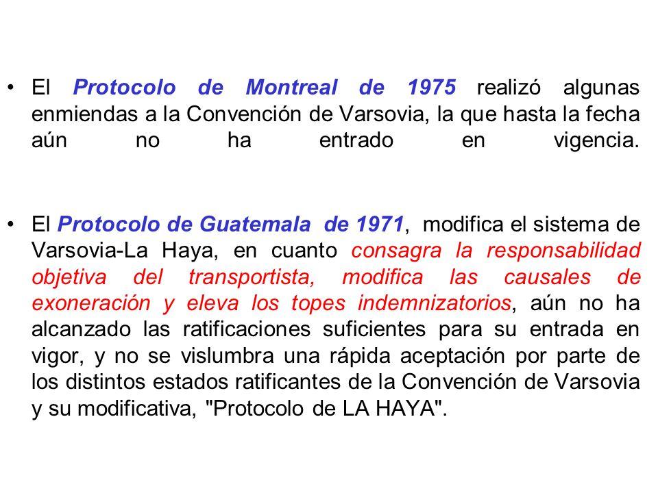 El Protocolo de Montreal de 1975 realizó algunas enmiendas a la Convención de Varsovia, la que hasta la fecha aún no ha entrado en vigencia.