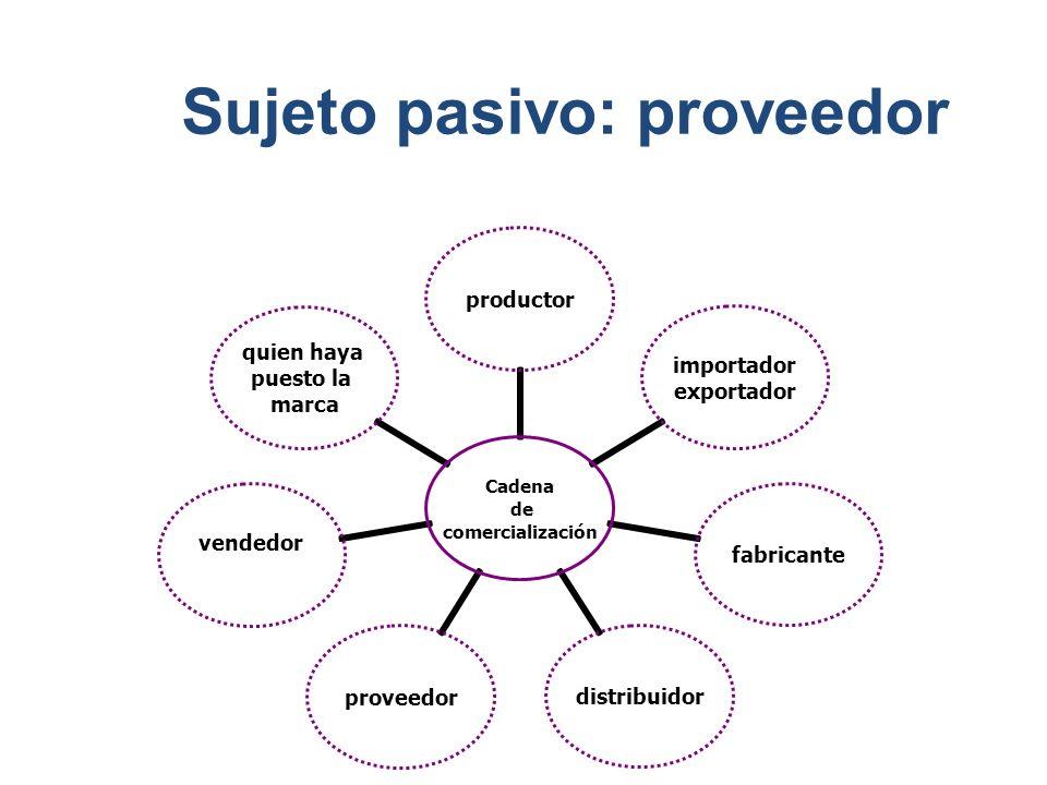 Cadena de comercialización productor importador exportador fabricantedistribuidorproveedor vendedor quien haya puesto la marca Sujeto pasivo: proveedor