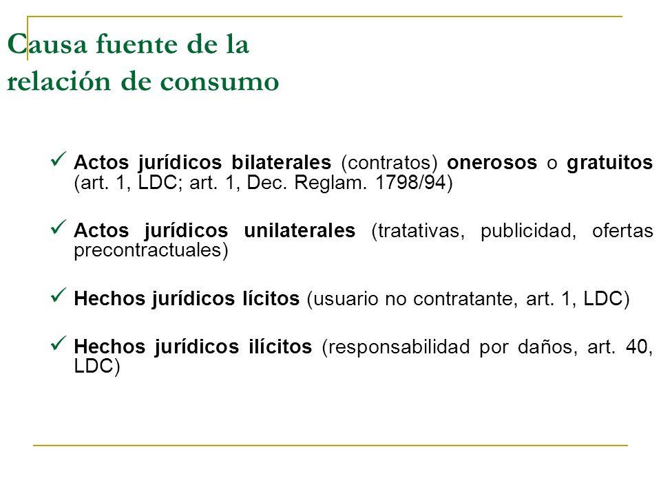 Causa fuente de la relación de consumo Actos jurídicos bilaterales (contratos) onerosos o gratuitos (art.