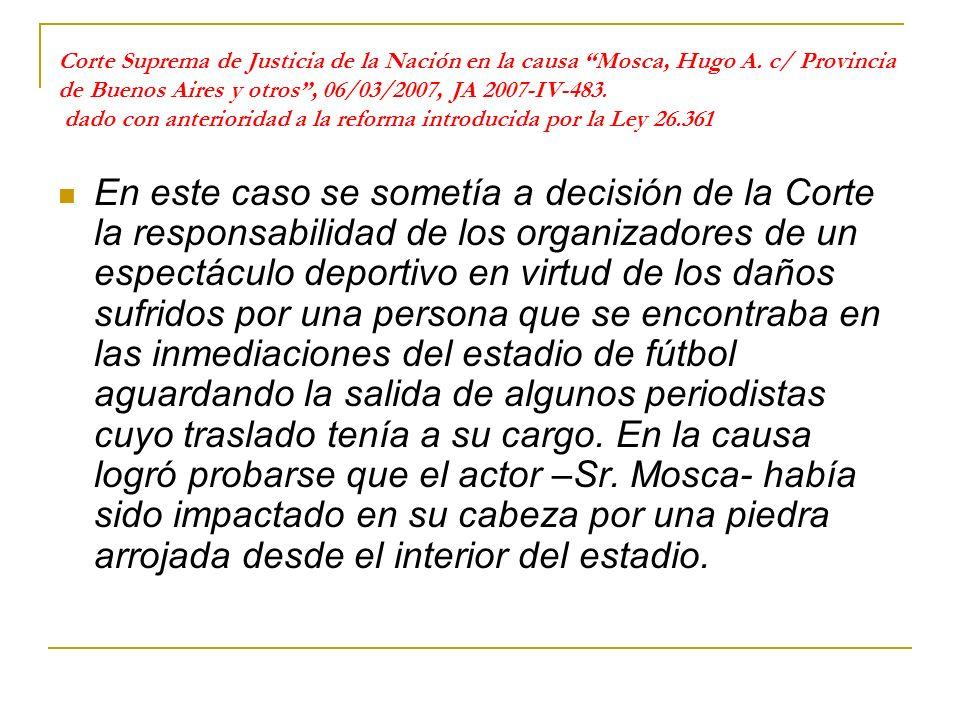 Corte Suprema de Justicia de la Nación en la causa Mosca, Hugo A.