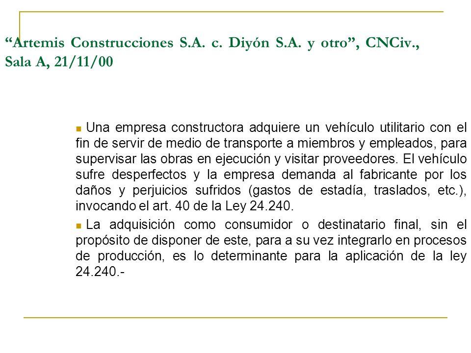 Artemis Construcciones S.A.c. Diyón S.A.