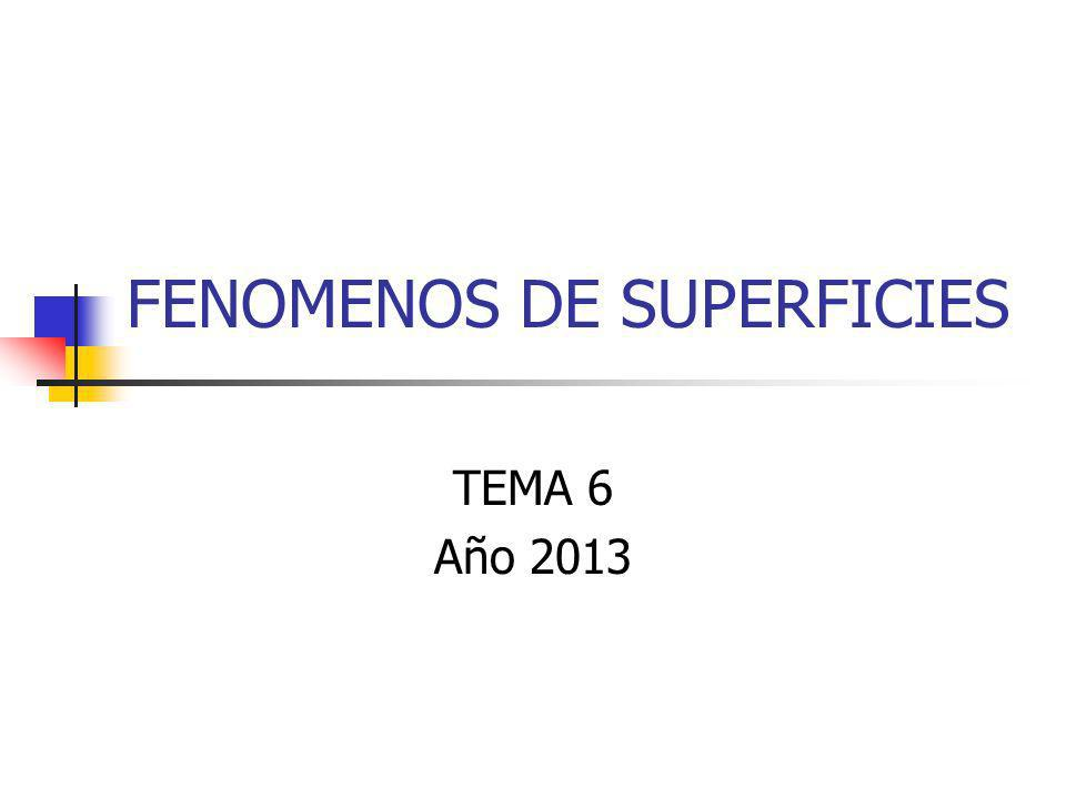 FENOMENOS DE SUPERFICIES TEMA 6 Año 2013
