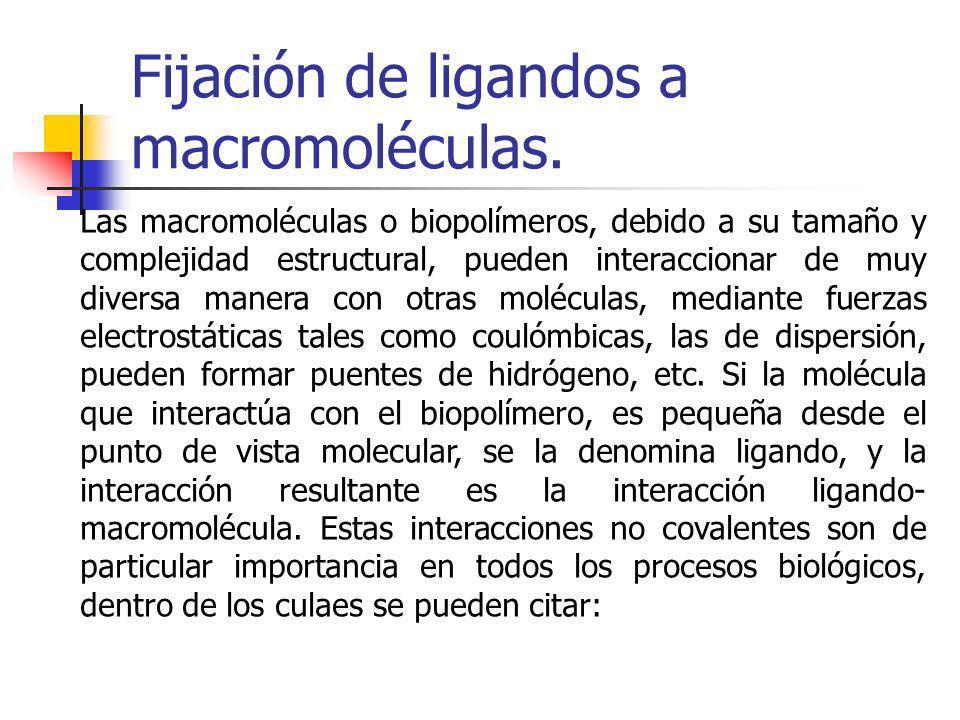 Fijación de ligandos a macromoléculas. Las macromoléculas o biopolímeros, debido a su tamaño y complejidad estructural, pueden interaccionar de muy di