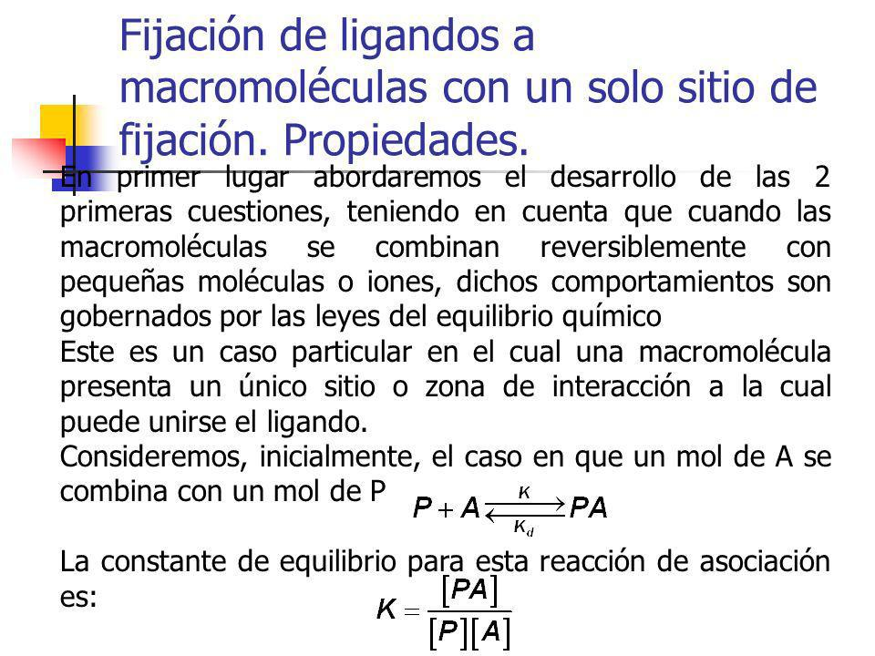 Fijación de ligandos a macromoléculas con un solo sitio de fijación. Propiedades. En primer lugar abordaremos el desarrollo de las 2 primeras cuestion