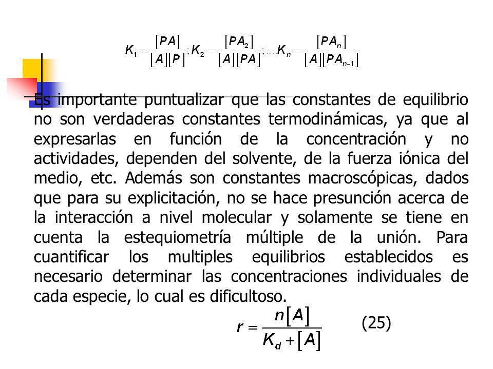 Es importante puntualizar que las constantes de equilibrio no son verdaderas constantes termodinámicas, ya que al expresarlas en función de la concent