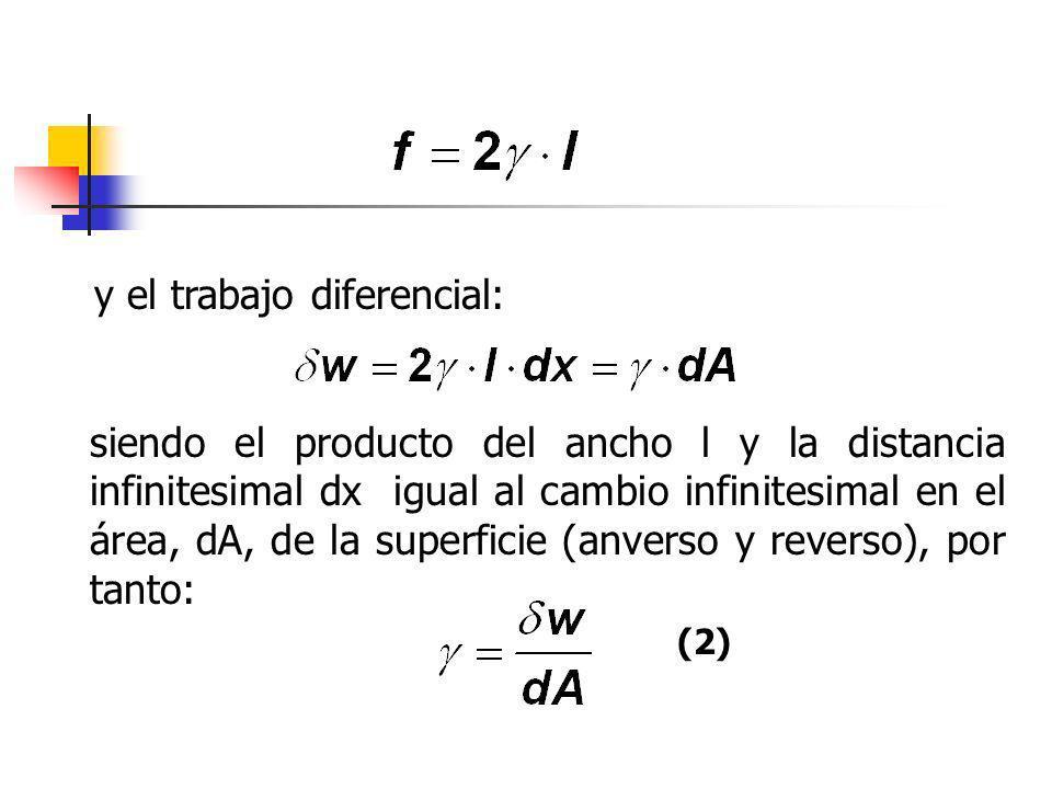 y el trabajo diferencial: siendo el producto del ancho l y la distancia infinitesimal dx igual al cambio infinitesimal en el área, dA, de la superfici
