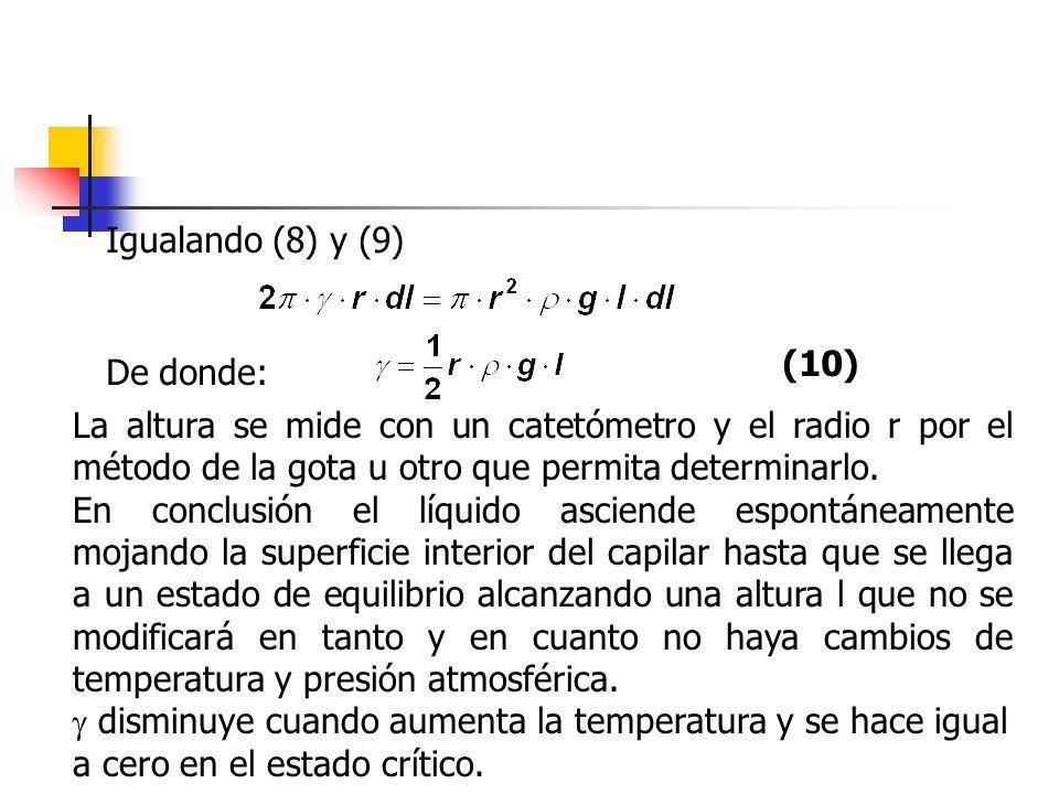 Igualando (8) y (9) De donde: (10) La altura se mide con un catetómetro y el radio r por el método de la gota u otro que permita determinarlo. En conc