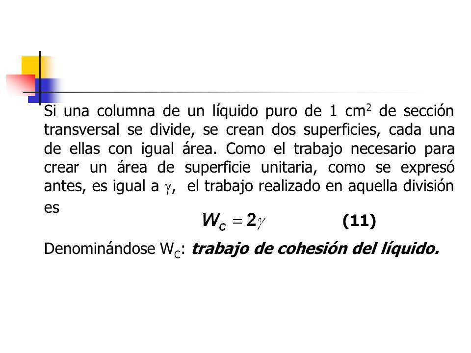 Si una columna de un líquido puro de 1 cm 2 de sección transversal se divide, se crean dos superficies, cada una de ellas con igual área. Como el trab