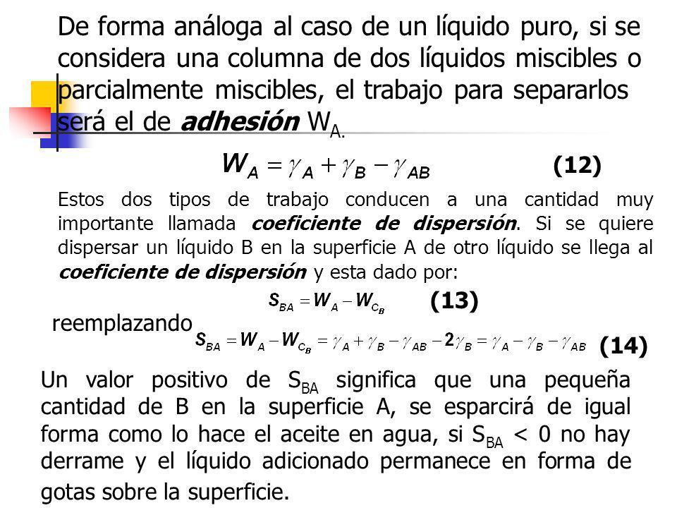 De forma análoga al caso de un líquido puro, si se considera una columna de dos líquidos miscibles o parcialmente miscibles, el trabajo para separarlo
