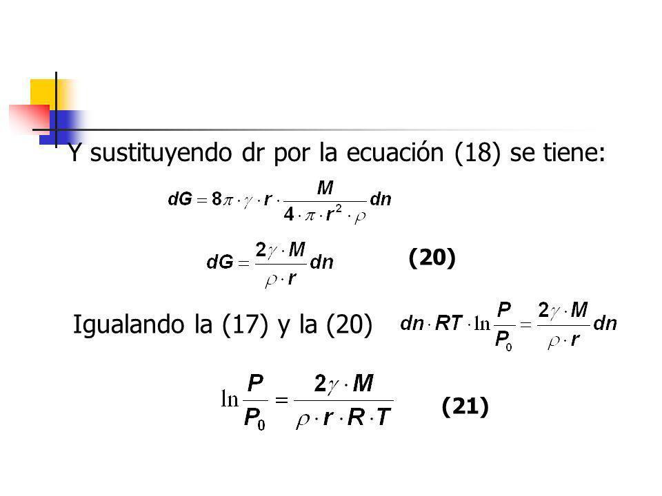 Y sustituyendo dr por la ecuación (18) se tiene: (20) Igualando la (17) y la (20) (21)