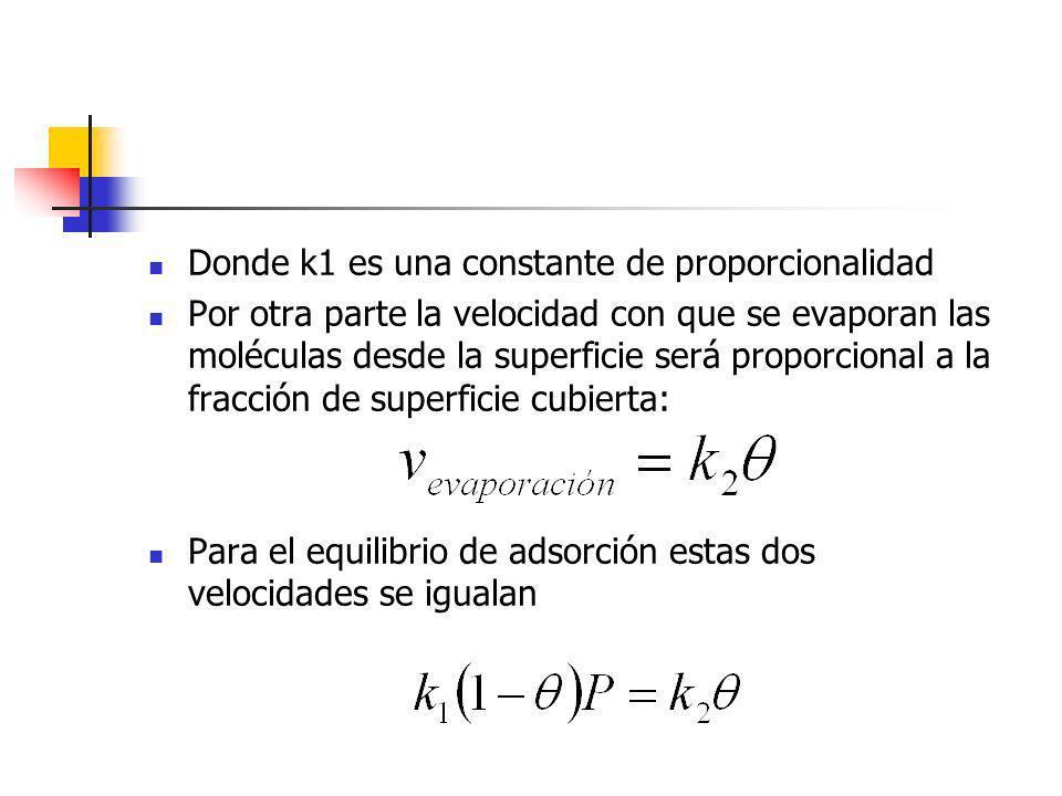 Donde k1 es una constante de proporcionalidad Por otra parte la velocidad con que se evaporan las moléculas desde la superficie será proporcional a la
