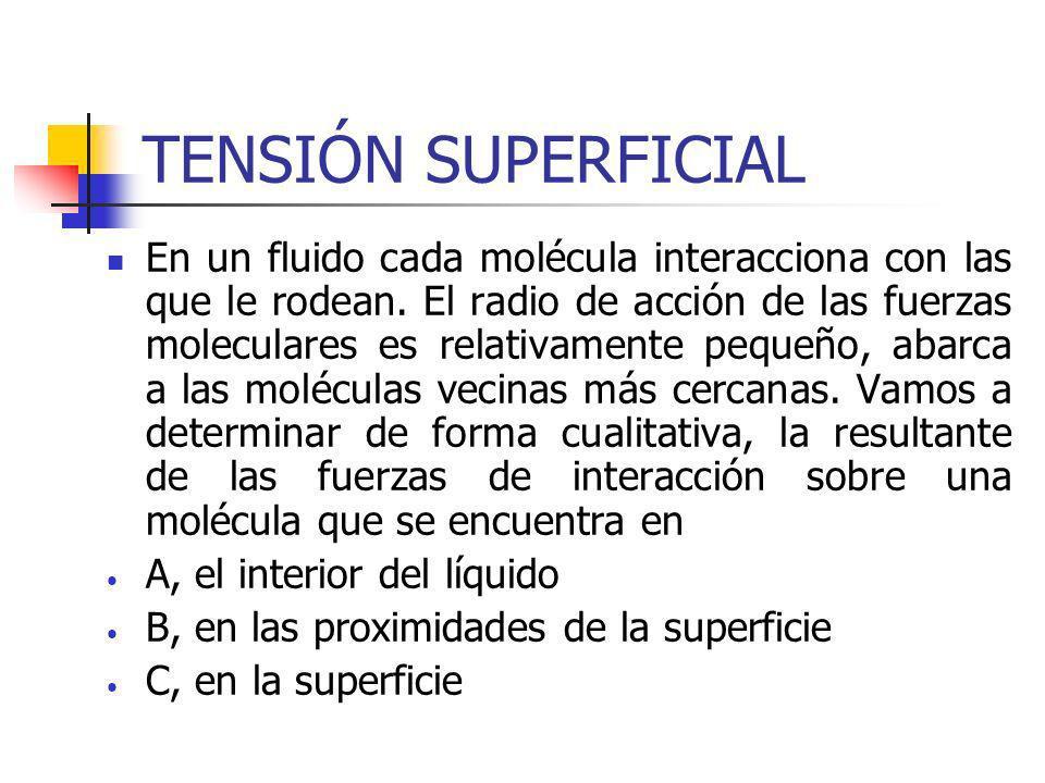 TENSIÓN SUPERFICIAL En un fluido cada molécula interacciona con las que le rodean. El radio de acción de las fuerzas moleculares es relativamente pequ