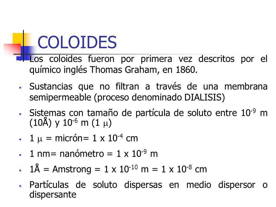 COLOIDES Los coloides fueron por primera vez descritos por el químico inglés Thomas Graham, en 1860. Sustancias que no filtran a través de una membran