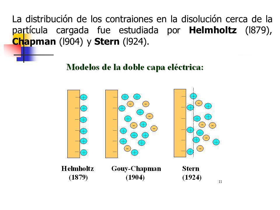 La distribución de los contraiones en la disolución cerca de la partícula cargada fue estudiada por Helmholtz (l879), Chapman (l904) y Stern (l924).