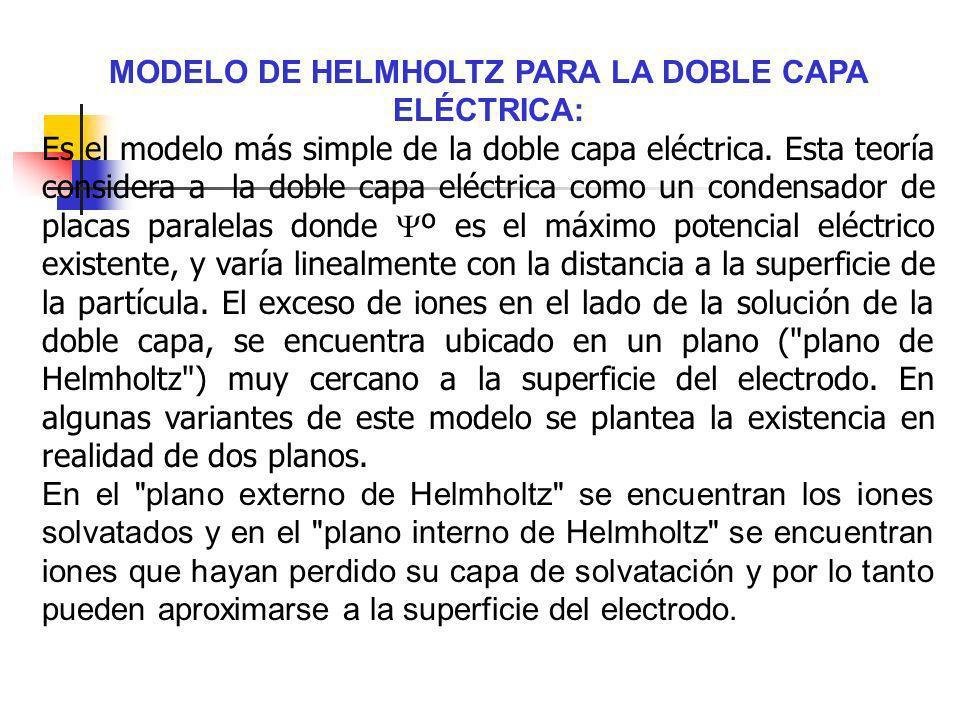 MODELO DE HELMHOLTZ PARA LA DOBLE CAPA ELÉCTRICA: Es el modelo más simple de la doble capa eléctrica. Esta teoría considera a la doble capa eléctrica